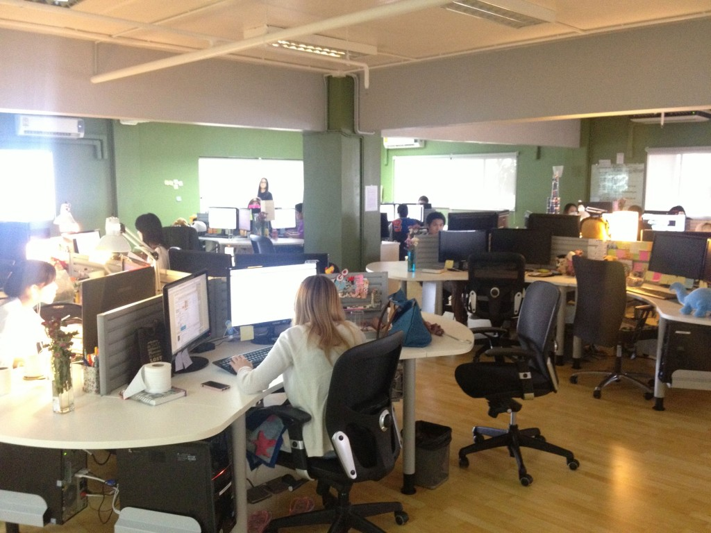 70+ people are working separated in teams like supports, design, contents managing workflow and so on.